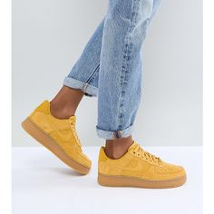 finest selection 8faed 9dc1f Nike Air Force 1 Mustard Suede Trainers With Gum Sole ( 120) ❤ liked on