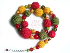 Crochet bead NECKLACE. Red Green Yellow bubble by AmazingDay, $38.00