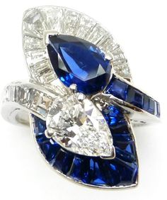 Two stone pear-shaped sapphire and diamond... | Diamonds in the Library