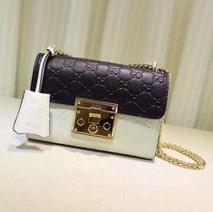 Gucci Small Signature Padlock Shoulder Bag 409487 White Black 2018 82d5ad86e2cd