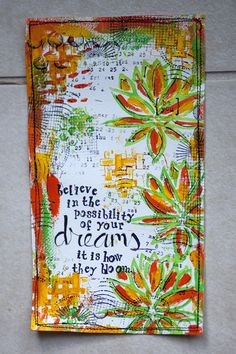 "Karen Grunberg using the Balzer Designs ""Lotus Blossom"" and ""Burst"" stencils"