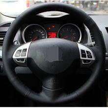 Черная искусственная кожа рулевого колеса автомобиля Обложка для Mitsubishi Lancer EX10 LANCER X Outlander ASX Colt Pajero Sport //Цена: $18 руб. & Бесплатная доставка //  #electronics #гаджеты