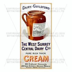 Dolls House Miniature    Dolls House Miniature West Surrey Dairy Shop Sign Circa 1915