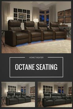 A must have for those looking for great man cave furniture. these black recliners are a comfy addition to any basement, man cave, or media room. Home Theater Rooms, Home Theater Seating, Theater Seats, Movie Theater, Interior Exterior, Interior Design, Interior Decorating, Le Living, Living Room