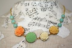 Flower necklace bright summer necklace summer by thepaisleymoon