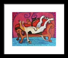 Lazy Framed Print featuring the painting Lazy Coonhound by Marti McGinnis