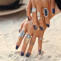 2017 Vintage Fashion Tibetan Silver Color Antique Stone Turquoise Midi Ring for Women Punk Boho Men Rings Gift
