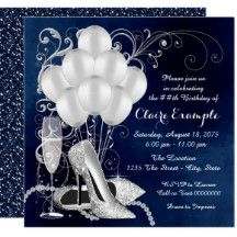 """Elegant glitter high heel shoes and diamonds womans 60th birthday party invitation template. This beautiful royal blue birthday party invitation is easily customized for your event by simply choosing the """"Customize it!"""" button to begin adding your event details, font style, font size & color, and wording. Please note - all of the stickers, cards and invitation designs you will find on Zazzle are printed graphics with no actual jewels, bows, raised, embossed, or added parts or pi..."""