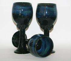 Elegant handmade ceramic wine goblets. Gloss by DrBevsPottery