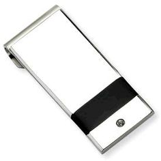 Stainless Steel cz and black rubber money clip #MGF1522 www.sartorhamann.com