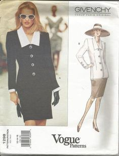 1990s Givenchy Vogue Paris Original Fitted Lined Jacket Straight Skirt Vogue 1298 Uncut FF Size 12-14-16 Women's Vintage Sewing Pattern