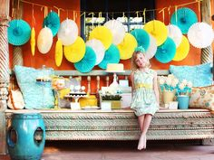 Tissue paper fans backdrop-color combination looks stunning  http://www.hgtv.com/design/make-and-celebrate/entertaining/13-party-ready-outdoor-spaces-pictures?soc=pinterest