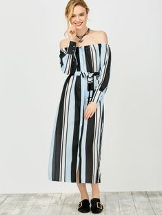 Multi Stripes Off The Shoulder Dress - Blue And Black Xl