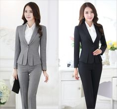 Formal Pant Suits for Women Business Suits for Work Wear Sets Gray Blazer Ladies Office Uniform Styles Pantsuits