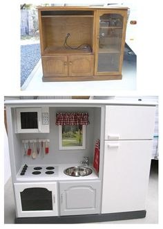 Play kitchens from old tv cabinets and kitchen cabinets. Easy to find at Goodwill and Habitat Restore. Cool, customized gift for the little ones in your life.