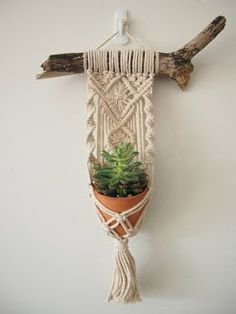 Macrame Plant Hanger Wall Hanging Fits Mini Pot Woven Indoor Vertical Garden Handmade Home Decor Interior Design Hanging Plants - MALUA This beautiful little hanging basket is handmade, with fine details and a magnificent tassel. Pot Hanger, Wall Hanger, Handmade Home, Macrame Design, Macrame Art, Macrame Knots, Micro Macrame, Macrame Projects, Macrame Patterns