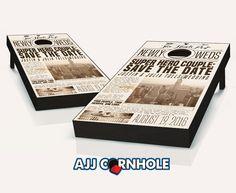 """Newspaper Print Wedding"" Cornhole Set Product Details | AJJ Cornhole"