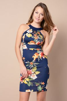 Exotic Floral Halter Dress