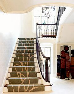 Let your stairs make a statement! Add an art piece to your home by using fun design elements on your staircase carpet runner. Available at Express Flooring in Phoenix, Arizona. Stairway Carpet, Carpet Stairs, Wall Carpet, Carpet Decor, Carpet Mat, Buy Carpet, New York Homes, New Homes, Staircase Runner