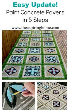 How to Paint an Easy Update For Concrete Pavers DIY Need an easy update for your backyard? Painting concrete pavers will add some pizzaz to your outdoo