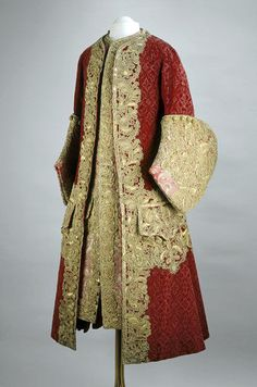 Mans heaviky embroidered court coat and waistcoat, c. 1729, France