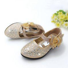 Girls Golden Rhinestone Embellished Formal Shoes