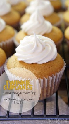 Twinkie Cupcakes: You will never miss the original Twinkie! Dare I say these are better? Includes a marshmallow cream filling and topped with a marshmallow buttercream.