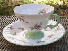 Rosina Pink Roses Light Green Leaves Bands tea Cup & Saucer