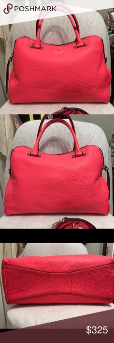 Kate Spade Flo Coral Audrey This is the only one I've ever seen.  I bought it a couple of years ago from someone.  This is a sample bag that KS gives out at shows.  I had to call customer service to verify the bag and they told me the color was Flo Coral.  I did buy the bag with the marks you see.  The person before had it in storage and she was unaware the handles and strap would bleed.  You really can't tell when you are carrying it. SIZE 9.5''h x 13.5''w x 5''d drop length: 5'' handheld…