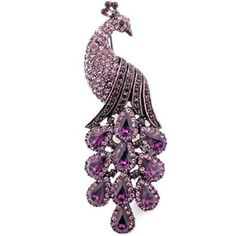 Vintage Style Amethyst Purple Peacock Austrian Crystal Bird Pin Brooch
