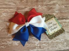Red white and blue hair bow  4th of July by PinkHairBowBoutique