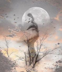 **Dreams of the moon** sky moon, moon art, dark fantasy art, moon Double Exposure Photography, Dark Photography, Sky Moon, Moon Art, Moon Images, Multiple Exposure, Beautiful Moon, Deviant Art, Wicca