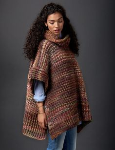 Tweed Under Wraps - Patterns | Yarnspirations | This topper is a must-have fall piece this year - crocheted in Patons Colorwul, this poncho is oversized for a cozy & warm fit.