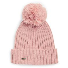 Calvin Klein Pom Pom Ribbed Knit Hat ($34) ❤ liked on Polyvore featuring accessories, hats, blush, ribbed knit beanie, beanie hat, calvin klein, beanie cap and rib knit hat