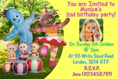 Personalised Iggle Piggle Night Garden Birthday Party Invitations