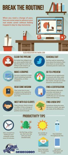 Break the routine of your day-to-day with these tips that will advance your real estate career while keeping your schedule fresh and exciting. #realestatecareer #realestateinfographics
