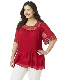 Forsyth Park Pleated Top | Catherines Plus Sizes: We love the vibrant red hue and thoughtful details of this stylish blouse. The lightweight fabric features delicate pleating that gently graces your curves. Openwork crochet at the neckline and sleeves completes the look. Scoop neckline. Elbow sleeves.