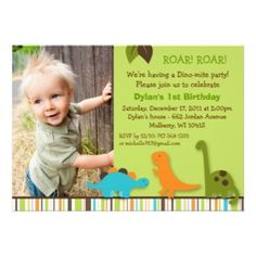 Lil Dino Dinosaur Boys Photo Birthday Invitations. An adorable dinosaur design for a boy. Add your child's photo and your own text.