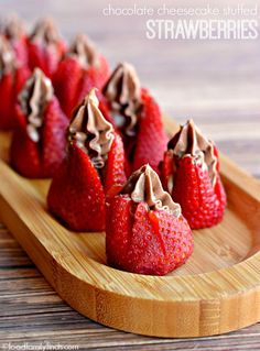 I'm not normally a cheesecake person, but these look pretty amazing. Strawberries Stuffed with Chocolate Cheesecake Recipe