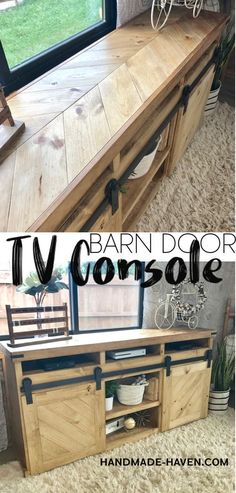 Barn Door TV Console |  Looking for the perfect rustic media center?! This gorgeous DIY Sliding Barn Door TV Console is exactly what you need for your home! #tvstand #barndoor #console #LivingRoomIdeas