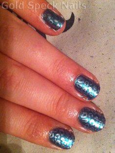 Cousin Fran's Nails    Base Coat: CND - Stickey  Base Colour: Models Own - Aqua Violet  Stamp Colour: N.Y.C. - Niagra Foils  Image Plate: Konad M57  Top Coat: China Glaze - No Chip Top Coat