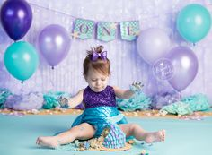 Cake Smash, Mermaid Cake Smash, Under Water Cake Smash, Girl Cake Smash, Aqua And purple Cake Smash, Cake Smash Session, Smash Cake, First Birthday, Mermaid Birthday, Under The Sea Cake Smash, Brandie Narola Photography