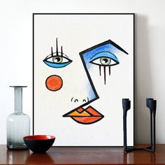 Modern Minimalist Abstract Face Picasso Poster Big Print Wall Art Picture Nordic Fashion Living Room Canvas Painting No Frame Living Room Canvas Painting, Wall Art Prints, Poster Prints, Poster Wall, Abstract Face Art, Modern Abstract Art, Modern Art Movements, Cubism Art, Modern Art Paintings