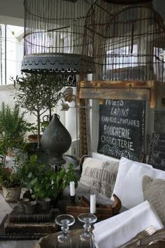 Birdcages, grain sacks, zinc - these are a few of my favorite things (yes, i totally sang that and you did too)