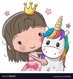Greeting Card with fairy tale Princess and Unicorn. Greeting Card with Cute Cartoon fairy tale Princess and Unicorn stock illustration Cartoon Cartoon, Kids Cartoon Characters, Cute Cartoon Girl, Cartoon Drawings, Cute Drawings, Unicorn Drawing, Unicorn Art, Cute Unicorn, Cartoon Mignon