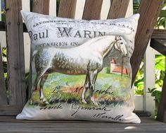 Percheron Pillow  French Horse Pillow Cover by artanlei