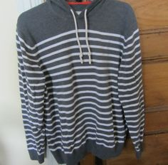 BODEN cotton Mens womens gray white striped hoodie nice heavy weight  #Boden #Hooded
