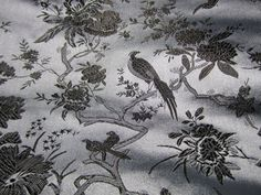 Chinese satin brocade  elegant grey and black by TintinBeads