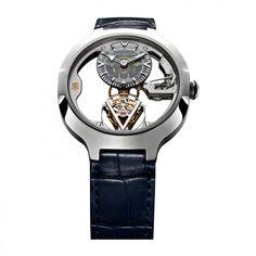 """See the Louis Vuitton Flying Tourbillon """"Poinçon de Genève"""" watch - Movement : Manual-winding mechanical - Case : Platinum Tambour, Tourbillon, Unique Clocks, Louis Vuitton, Luxury Watches, Gold, Futuristic, Accessories, Jewelry"""