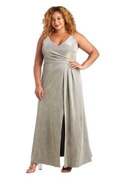 Morgan & Co Plus Size Long Metallic Dress 12841WM   The Dress Outlet Pageant Dresses, Formal Dresses, Bride Dresses, Plus Size Gowns, Fashion Mask, Slit Skirt, Metallic Dress, Mother Of The Bride, Evening Gowns